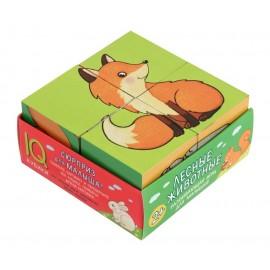 Умные кубики в поддончике. 4 штуки. Лесные животные