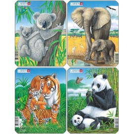 Пазл Коала, слон, тигр, панда (4), в ассортименте, 8 деталей