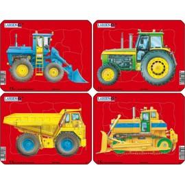 Пазл Трактор и бульдозер (4), в ассортименте, 10 деталей