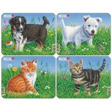 Пазлы для детей Кошки и Собаки (4), в ассортименте, 6 деталей