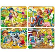 Пазл Дети на ферме (4), в ассортименте, 9 деталей