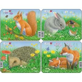 Пазл Кролик, белка, лиса, еж (4), в ассортименте, 5 деталей
