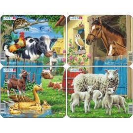 Пазл Животные фермы (4), в ассортименте, 7 деталей