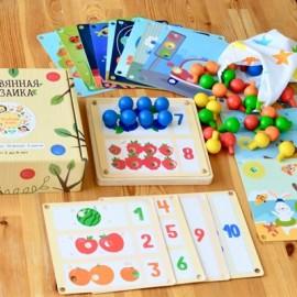"""Мозаика деревянная 19 карточек """"Изучаем цифры, цвет, времена года"""""""