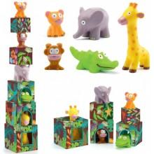 Набор кубиков Большие Джунгли, 5 кубиков + 5 животных
