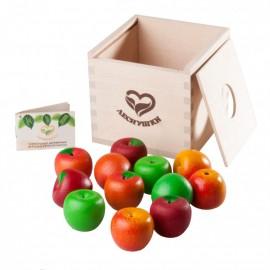 Счетный материал 12 Наливных яблочек - 4 сорта в коробочке-сортере